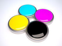 3D CMYK. Cyan magenta, yellow and black in four different containers royalty free illustration