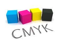 3D CMYK Ink Cubes. CYMK Concept for Printing. White Background. 3D Render Royalty Free Stock Photography