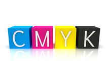 3D CMYK Ink Cubes Royalty Free Stock Photography