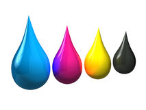 3D CMYK Ink Drops Royalty Free Stock Photos