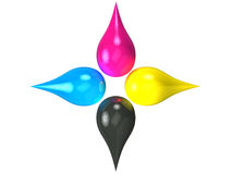 3D CMYK Ink Drops Stock Images