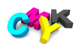 3D cmyk Letters 02. Colorful 3D letters for printing royalty free illustration