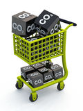 3D CO2 shopping cart green. Green shopping cart with black cubes on white background vector illustration