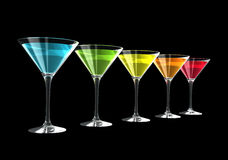 3D cocktail glasses. Cocktail glasses isolated on a black background. three dimensional illustration Stock Image