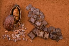 3d cocoa fruit, powder and chocolate Stock Photo