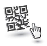 3D Code QR met handpijl Royalty-vrije Stock Afbeelding