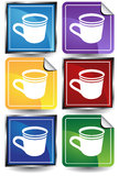 3D Coffee Cup Sticker Set Stock Images