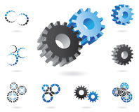 3d cogs. A set of blue and black cogs in 2d and 3d shapes