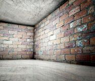 3d coin, intérieur concret de brique Photo libre de droits