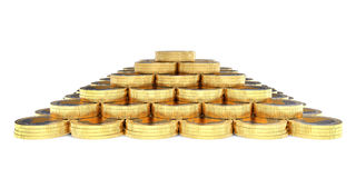 3d coins finance pyramid. Podium on the white background Royalty Free Stock Image