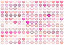 3d collection floating love heart in pink on whi Royalty Free Stock Photo