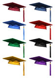 3D collection of graduation caps royalty free illustration