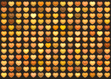 3d collection love heart in orange on brown Stock Photos