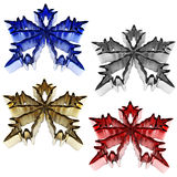 3d collection of metallic snowflakes. On white background Royalty Free Stock Image
