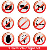 3D Collection of restrictive signs Royalty Free Stock Photo