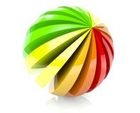 3d a coloré le graphisme de bille d'isolement sur le blanc Images libres de droits