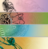3D Color banner Set. Banner Set in pastel colors containing a 3D render elements made in StructureSynth and SunFlow renderers. Recolorable and suitable for Royalty Free Stock Photo