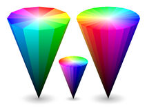 3D color cones. Three different vector color cones representing RGB color space Stock Image