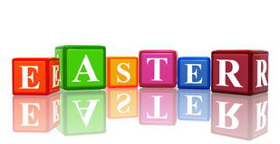 3d color cubes with text easter Stock Images