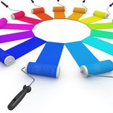 3d color wheel with rollers Stock Images