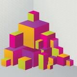 3D colorato estratto cuba l'illustrazione per il disegno Fotografia Stock