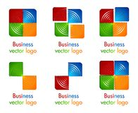 3D colored circle in square logo Stock Image