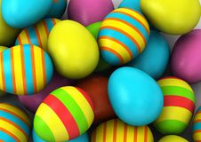 3d Colored Easter Eggs Stock Images