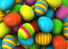 3d Colored Easter Eggs Stock Image