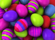 3d Colored Easter Eggs Royalty Free Stock Photos