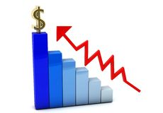 3d colored graph and dollar. 3d colored graph with an upward arrow on white background Stock Image