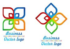 3D colored half square logo. For company, work or fun Royalty Free Stock Images