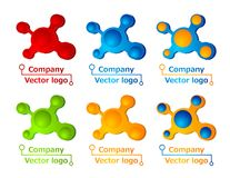 3D colored molecule logos Stock Photos