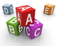 3d colorful abc boxes. 3d reflective colorful abc boxes Royalty Free Stock Image