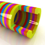3d colorful abstract cut pipe Royalty Free Stock Image