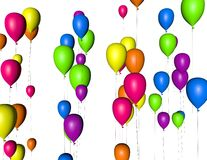 3d colorful balloons isolated, anniversary background Royalty Free Stock Photos