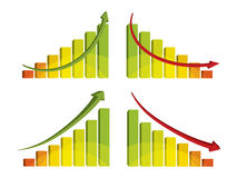 3d colorful bar chart with arrow. Vector illustration Royalty Free Stock Photos