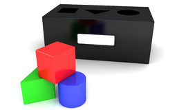 3D colorful blocks. Three-dimensional rendering of colored blocks of various shapes and sized Stock Photography