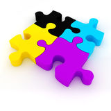 3d colorful CMYK puzzle pieces. On white background Stock Photography