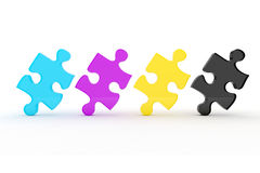 3d colorful CMYK puzzle pieces. On white background Stock Image