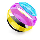 3d colorful CMYK sphere Royalty Free Stock Image