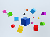 3d colorful cubes. Float in space isolated on blue background Royalty Free Illustration