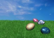 3d colorful easter eggs on grass. 3d colorful easter eggs on the spring grass Stock Images