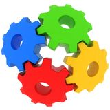 3d colorful gears. On white background Stock Photos