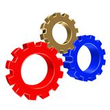 3D colorful gears. 3D rendering of gears in three colors Stock Photography