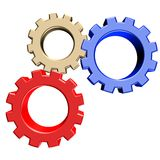 3D colorful gears. 3D rendering of gears in three colors Stock Photo