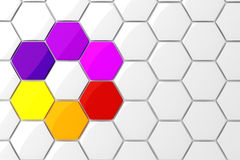 3d colorful hexagonal puzzle pieces. On white background stock illustration