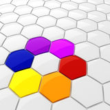 3d colorful hexagonal puzzle pieces. On white background Royalty Free Stock Images