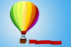 3d colorful hot air balloon. 3d colored hot air balloon Royalty Free Stock Photos