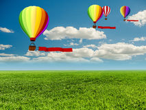 3d colorful hot air balloons Stock Photo
