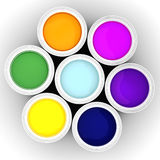 3d colorful paint buckets. On white background Royalty Free Stock Photography